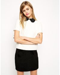 ASOS - Natural Textured T-shirt With Embellished Collar - Lyst