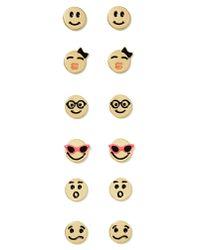 Nasty Gal | Metallic Emoji Stud Earring Pack | Lyst