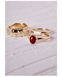 Missguided | Multicolor Multi Stacking Ring Set Gold | Lyst