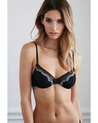 Forever 21 | Black Contrast Lace Underwire Bra | Lyst