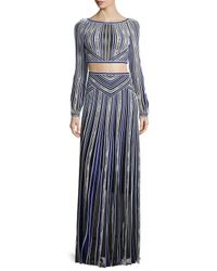 Roberto Cavalli - Long-sleeve Metallic Striped Crop Top - Lyst