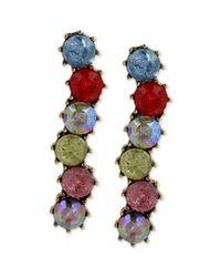 Betsey Johnson - Metallic Goldtone Multicolored Crystal Linear Earrings - Lyst