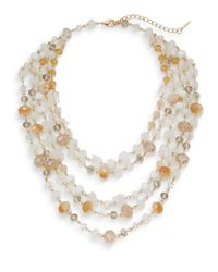 Saks Fifth Avenue | Multicolor Exotic Stone Multi-strand Collar Necklace/goldtone | Lyst