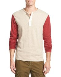 Lucky Brand | Natural 'duofold' Double Faced Knit Long Sleeve Henley for Men | Lyst