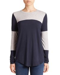 Vince | Blue Colorblocked Jersey Top | Lyst