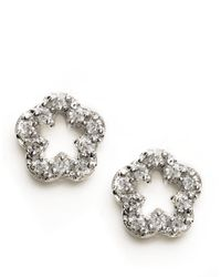 Lord & Taylor | Metallic Sterling Silver Mini Pave Flower Stud Earrings | Lyst