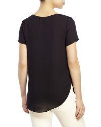 Lush - Black Short Sleeve Woven Top - Lyst