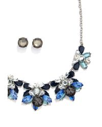 Forever 21 | Blue Rhinestone Statement Necklace And Earring Set | Lyst