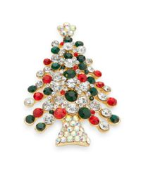 R.j. Graziano | Multicolor Embellished Christmas Tree Pin | Lyst