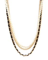 Forever 21 - Black Woven Faux Pearl & Chain Necklace - Lyst