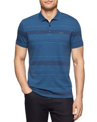 Calvin Klein | Blue Contrast Striped Polo for Men | Lyst