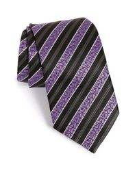 Ermenegildo Zegna - Purple Stripe Silk Tie for Men - Lyst