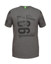 BOSS Green | Gray 'tee 7' | Cotton Digital Print T-shirt for Men | Lyst