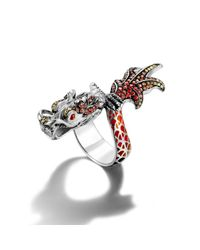 John Hardy | Red Dragon Wrap Ring With Autumn Color Way Enamel | Lyst