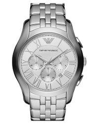 Emporio Armani - Metallic Round Chronograph Bracelet Watch for Men - Lyst