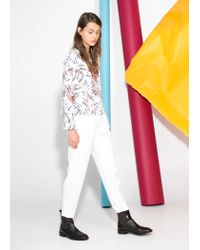 Mango - Natural Printed Flowy Blouse - Lyst