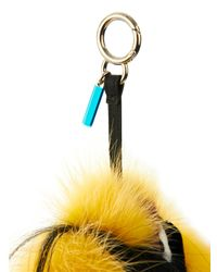 Fendi - Yellow Yelly Fox And Goat-Fur Bag Charm - Lyst