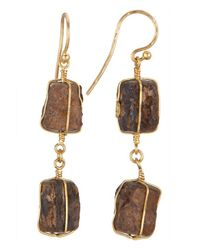 Gurhan | Metallic Women's 24k Yellow Gold Raw Tiger's Eye Earrings | Lyst