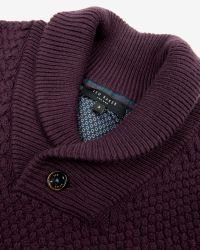 Ted Baker | Purple Heynow Basket Stitch Shawl Neck Jumper for Men | Lyst