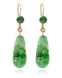 Kojis - Metallic Gold Carved Jade Earrings - Lyst