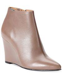 Calvin Klein | Brown Women's Charlaine Wedge Booties | Lyst