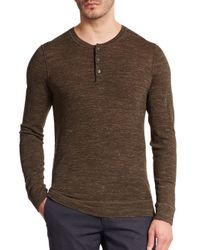 Vince | Brown Wool & Linen Henley Tee for Men | Lyst