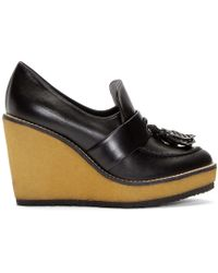 Robert Clergerie | Black Leather Astrid Wedge Loafers | Lyst