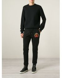 Love Moschino - Black Logo Patch Track Pants for Men - Lyst