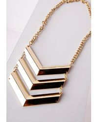 Missguided - Metallic Geometric Tier Necklace Gold - Lyst