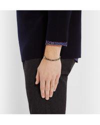 Luis Morais - Gray White Gold Trikona And Glass Beaded Bracelet for Men - Lyst