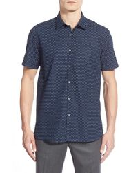 Ted Baker | Blue 'tarmack' Extra Trim Fit Short Sleeve Circle Print Sport Shirt for Men | Lyst