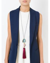Katerina Psoma - Blue Tassel Pendant Beaded Necklace - Lyst