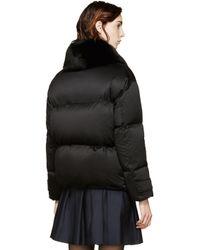 Burberry - Black Fox Collar Alderwall Jacket - Lyst