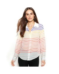 Vince Camuto | Multicolor Longsleeve Striped Blouse | Lyst