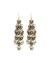 Chamak by Priya Kakkar - Black Diamond-shape Tiered Chandelier Earrings - Lyst