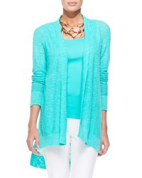 Eileen Fisher | Blue Linen-cotton Slub Cardigan | Lyst