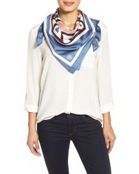 Tory Burch | Blue 'fret' Print Silk Square Scarf | Lyst