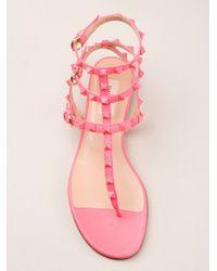 Valentino - Pink Rockstud Sandals - Lyst