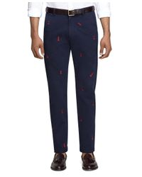 Brooks Brothers - Blue Chess Embroidered Chinos for Men - Lyst