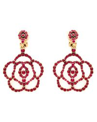 Oscar de la Renta - Red Pavé Flower Clip-on Earrings - Lyst