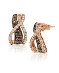 Le Vian   Multicolor Chocolatier Chocolate Diamond, Vanilla Diamond And 14k Strawberry Gold Earrings   Lyst
