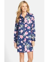 Lauren by Ralph Lauren - Blue Long Sleeve Sateen Sleep Shirt - Lyst