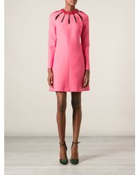 Valentino - Pink Floral Collar Dress - Lyst