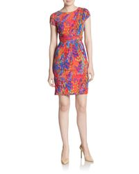 Ellen Tracy - Multicolor Abstract-print Wrap Waist Sheath Dress - Lyst