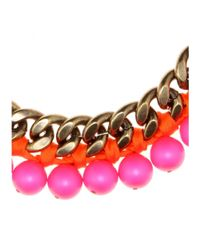 Lanvin - Pink Beaded Chainlink Necklace - Lyst