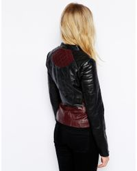 Oasis - Red Colourblock Biker Jacket - Lyst