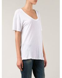 Lacausa - White Scoop Neck T-Shirt - Lyst