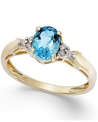 Macy's | Blue Topaz (3/4 Ct. T.w.) And Diamond Accent Ring In 10k Gold | Lyst