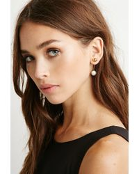Forever 21 | Metallic Amber Sceats Faux Pearl Bar Earring | Lyst