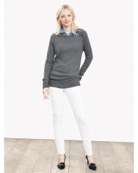 Banana Republic | Gray Ribbed Button-shoulder Pullover | Lyst